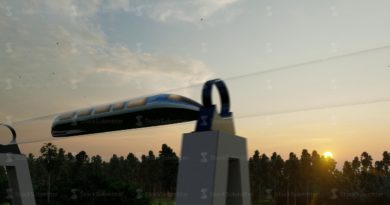 Modern 3d illustration with green maglev hyperloop. Future technology concept. Futuristic concept