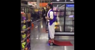 Aladdin riding hoverboard on Halloween