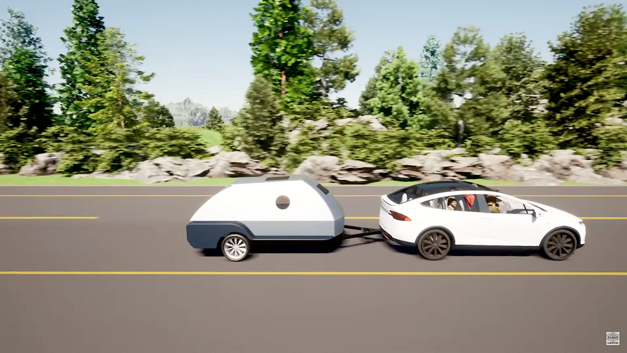 Teardrop camper trailer fast-charges EVs with 75 kwh of extra batteries